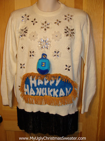 Ugly Christmas Sweater Party Hanukkah Sweater Vintage 80s (j129)