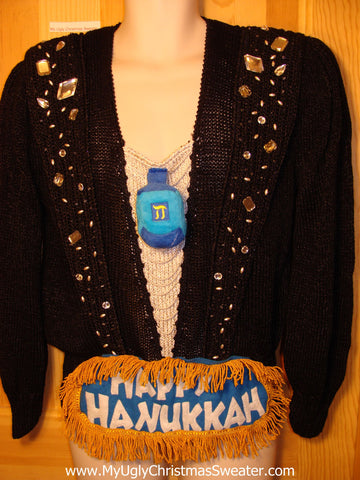 Ugly Christmas Sweater Party Hanukkah Sweater Vintage 80s (j133)