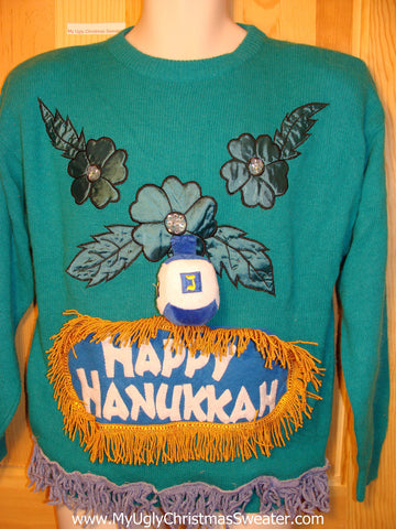 Ugly Christmas Sweater Party Hanukkah Sweater Vintage 80s (j137)