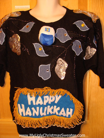 Ugly Christmas Sweater Party Hanukkah Sweater Vintage 80s (j142)