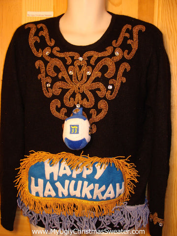 Ugly Christmas Sweater Party Hanukkah Sweater Vintage 80s (j146)