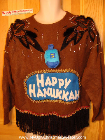 Ugly Christmas Sweater Party Hanukkah Sweater Vintage 80s (j149)