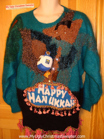 Ugly Christmas Sweater Party Hanukkah Sweater Vintage 80s (j150)