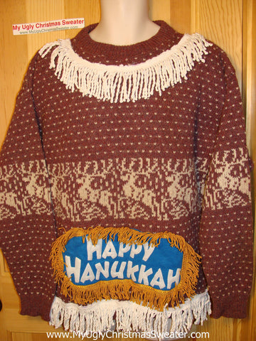 Ugly Christmas Sweater Party Hanukkah Sweater (j155)