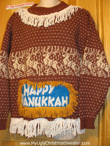Ugly Christmas Sweater Party Hanukkah Sweater (j156)