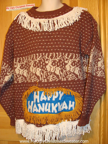 Ugly Christmas Sweater Party Hanukkah Sweater (j157)