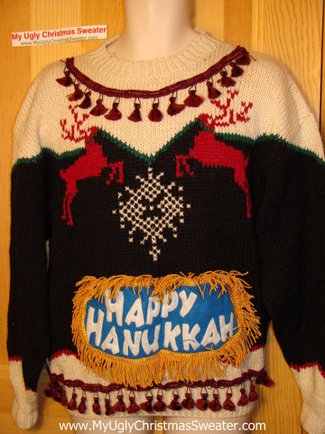 Ugly Christmas Sweater Party Hanukkah Sweater (j158)