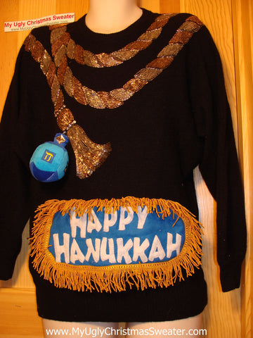 Ugly Christmas Sweater Party Hanukkah Sweater Vintage 80s (j159)