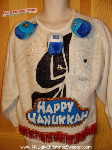 Ugly Christmas Sweater Party Hanukkah Sweater Vintage 80s (j161)