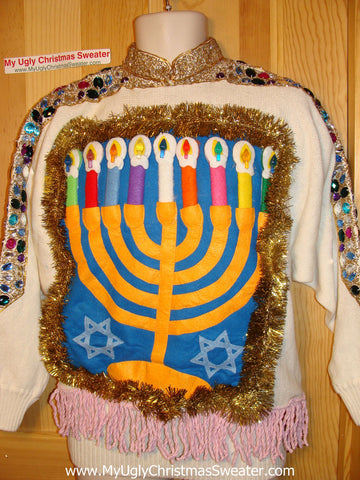 Ugly Christmas Sweater Party Hanukkah Sweater Vintage 80s  Uber-Bling! (j163)