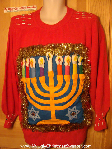 Ugly Christmas Sweater Party Hanukkah Sweater Vintage 80s (j164)