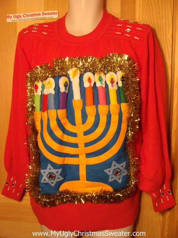 Ugly Christmas Sweater Party Hanukkah Sweater Vintage 80s (j165)