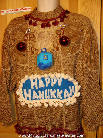 Ugly Christmas Sweater Party Hanukkah Sweater Vintage 80s Holy Grail of Ugly (j167)