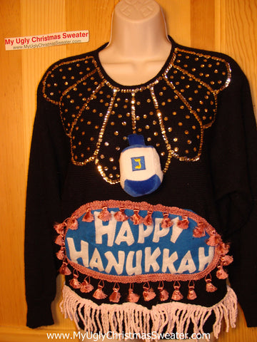 Ugly Christmas Sweater Party Hanukkah Sweater Vintage 80s (j170)