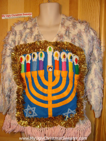 Ugly Christmas Sweater Party Hanukkah Sweater Vintage 80s Holy Grail of Ugly  (j172)