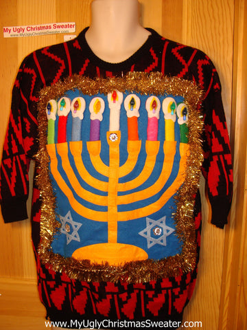Ugly Christmas Sweater Party Hanukkah Sweater Vintage 80s (j173)