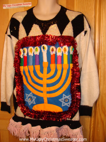 Ugly Christmas Sweater Party Hanukkah Sweater Vintage 80s (j175)