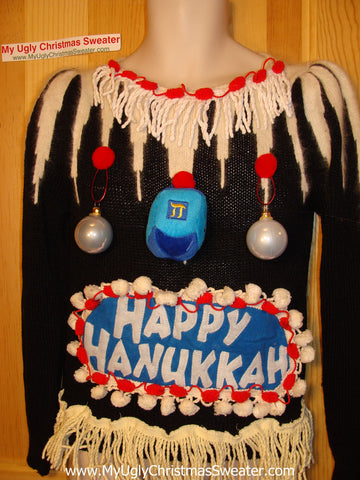 Ugly Christmas Sweater Party Hanukkah Sweater Vintage 80s Naughtly Dangling Ornaments (j176)
