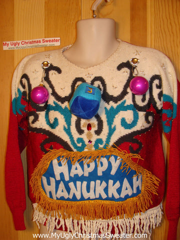 Ugly Christmas Sweater Party Hanukkah Sweater Vintage 80s (j178)