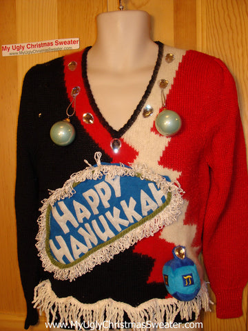 Ugly Christmas Sweater Party Hanukkah Sweater Vintage 80s (j179)