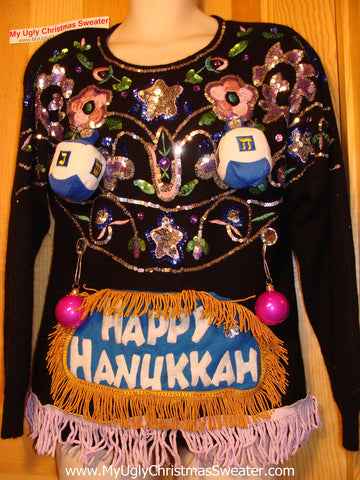 Ugly Christmas Sweater Party Hanukkah Sweater Vintage 80s Holy Grail of Bling Naughty Dreidels (j181)
