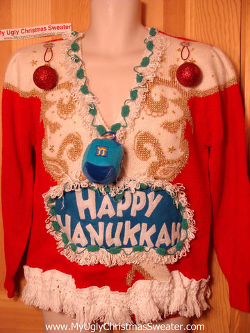 Ugly Christmas Sweater Party Hanukkah Sweater Vintage 80s (j186)