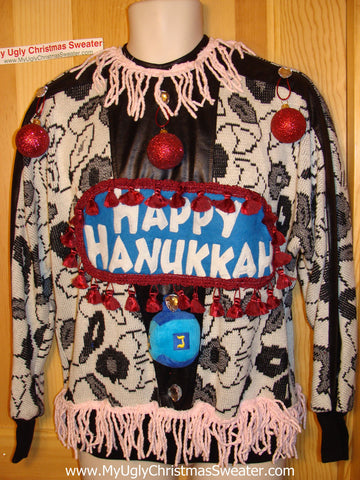 Ugly Christmas Sweater Party Hanukkah Sweater Vintage 80s (j188)
