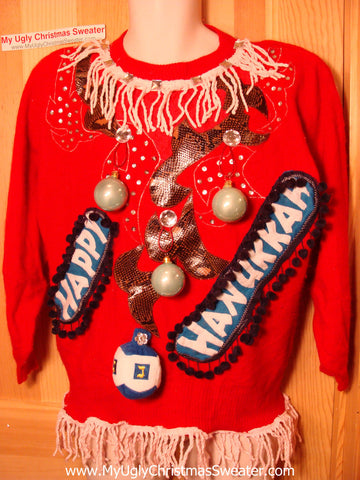 Ugly Christmas Sweater Party Hanukkah Sweater Vintage 80s (j189)