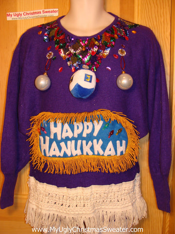 Ugly Christmas Sweater Party Hanukkah Sweater Vintage 80s (j190)