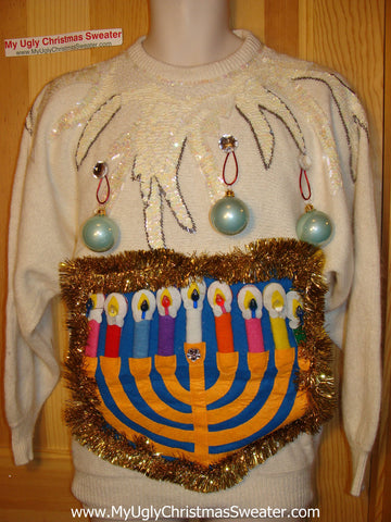 Ugly Christmas Sweater Party Hanukkah Sweater Vintage 80s (j191)