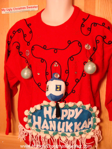 Ugly Christmas Sweater Party Hanukkah Sweater Vintage 80s (j193