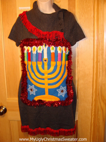 Ugly Christmas Sweater Party Hanukkah Sweater Dress (j194)