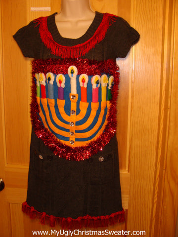 Ugly Christmas Sweater Party Hanukkah Sweater  Dress (j195)