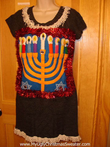 Ugly Christmas Sweater Party Hanukkah Sweater Dress (j196)