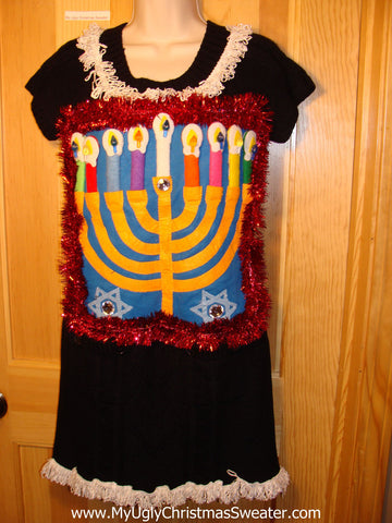 Ugly Christmas Sweater Party Hanukkah Sweater Dress (j197)