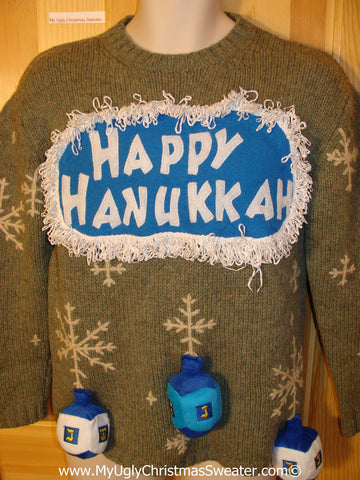 Ugly Christmas Sweater Party Hanukkah Sweater with 3D Dreidels (j200)