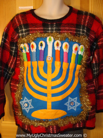 Ugly Christmas Sweater Party Hanukkah Sweater  (j204)