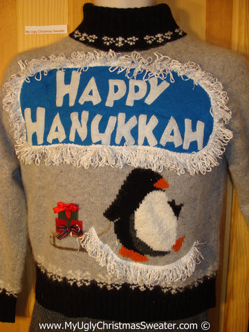 Ugly Christmas Sweater Party Hanukkah Sweater with Penguin Pulling Sled (j205