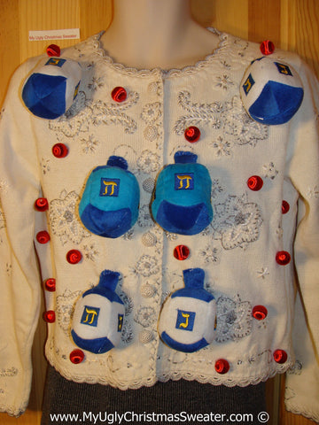 Ugly Christmas Sweater Party Hanukkah Sweater  (j206)