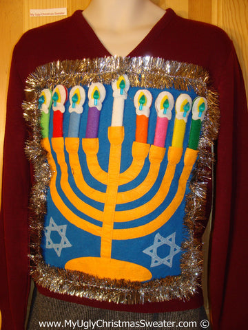 Ugly Christmas Sweater Party Hanukkah Sweater  (j208)