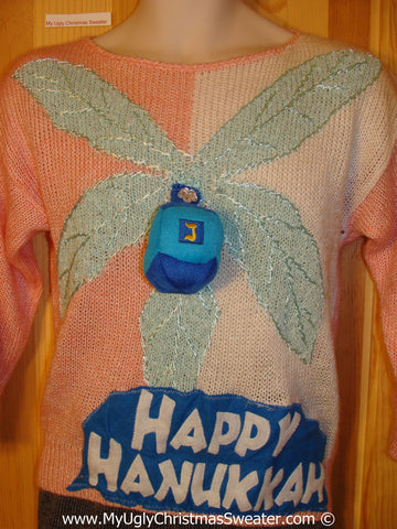 Ugly Christmas Sweater Party Hanukkah Sweater Tropical Palm Tree and Dreidel (j210)