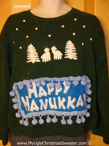 Ugly Christmas Sweater Party Hanukkah Sweater  (j211)