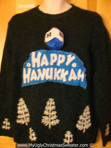 Ugly Christmas Sweater Party Hanukkah Sweater and Puffy Dreidel (j214)