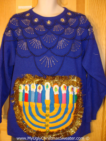Ugly Christmas Sweater Party Hanukkah Sweater 80s Glam (j216)