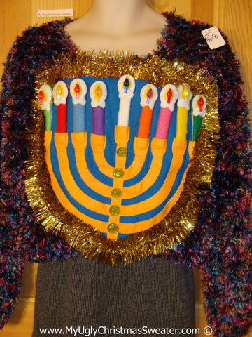 Ugly Christmas Sweater Party Hanukkah Sweater 80s Glam (j218)