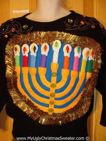 Ugly Christmas Sweater Party Hanukkah Sweater 80s Glam (j219)