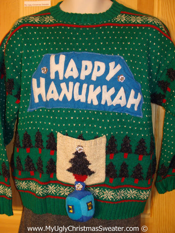 Ugly Christmas Sweater Party Hanukkah Sweater Nordic with Dreidel (j220)