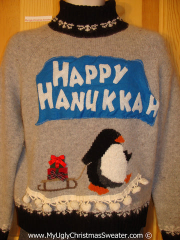 Ugly Christmas Sweater Party Hanukkah Sweater  Penguin (j221)