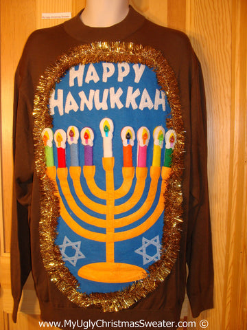 Ugly Christmas Sweater Party Hanukkah Sweater Mens with Menorah (j222)