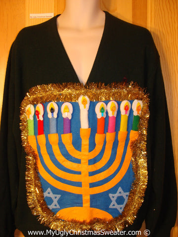 Ugly Christmas Sweater Party Hanukkah Sweater Mens with Menorah (j224)